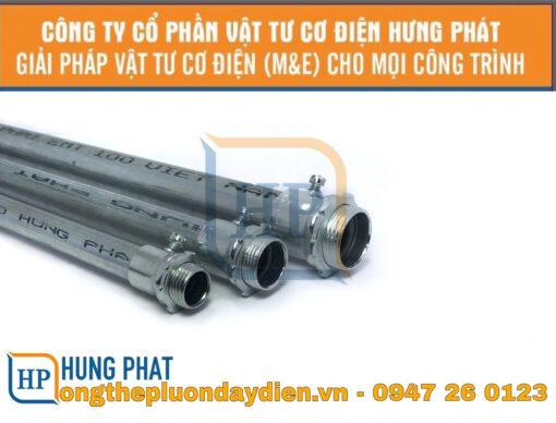 ống thép luồn dây điện trơn và đầu nối ống trơn vào hộp điện